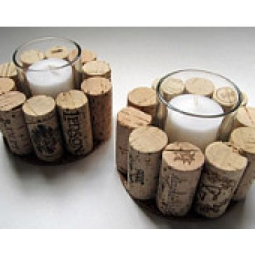 Cork candle holders, easily made out of old candles and corks glued to the side