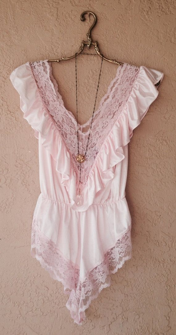 Pink lace and nylon onesie by HulaGypsy on Etsy