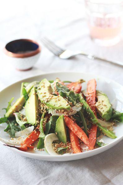 Roasted Carrot, Avocado & Toasted Quinoa Salad   Perpetually Chic
