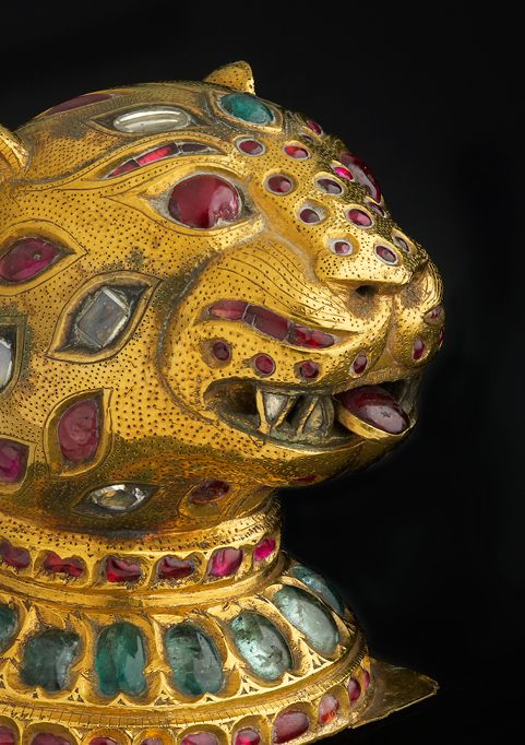 Finial from the throne of Tipu Sultan, Mysore, ca. 1790. Gold, inlaid with diamonds, rubies, and emeralds; lac core. The Al-Thani Collection.