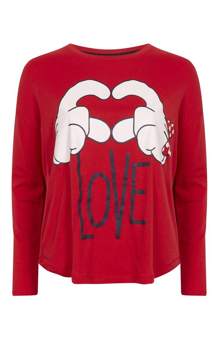Primark - Haut de pyjama Mickey Mouse cœur rouge