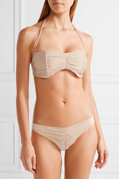 Cali Dreaming - Exclusive Draco Ruched Bandeau Bikini Top - Beige