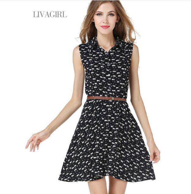 Black Women Bodycorn T Shirt Style Dress One Piece Casual Lady Turn Down Collar Clothes Vintage Summer Floral Dress With Belt