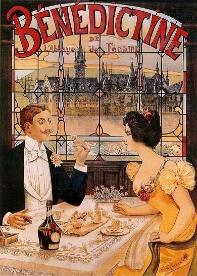 La Belle Epoque - Benedictine. Alcohol Vintage poster / vieille affiche publicitaire d'alcool. Drink ads.