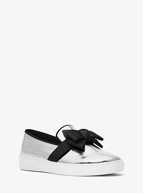 Michael Kors Val Crackled Metallic Leather Slip-On Sneaker