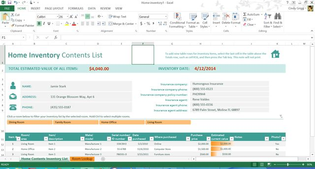 Free Templates Aren't Just for the Office!: Itemized Home Inventory Template for Microsoft Excel #microsoftofficehomeandbusiness2016,