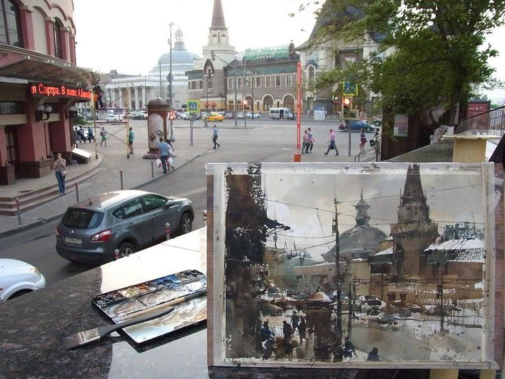 Paint on site in Moscow by Chien Chung Wei (27x37cm,ARCHES)