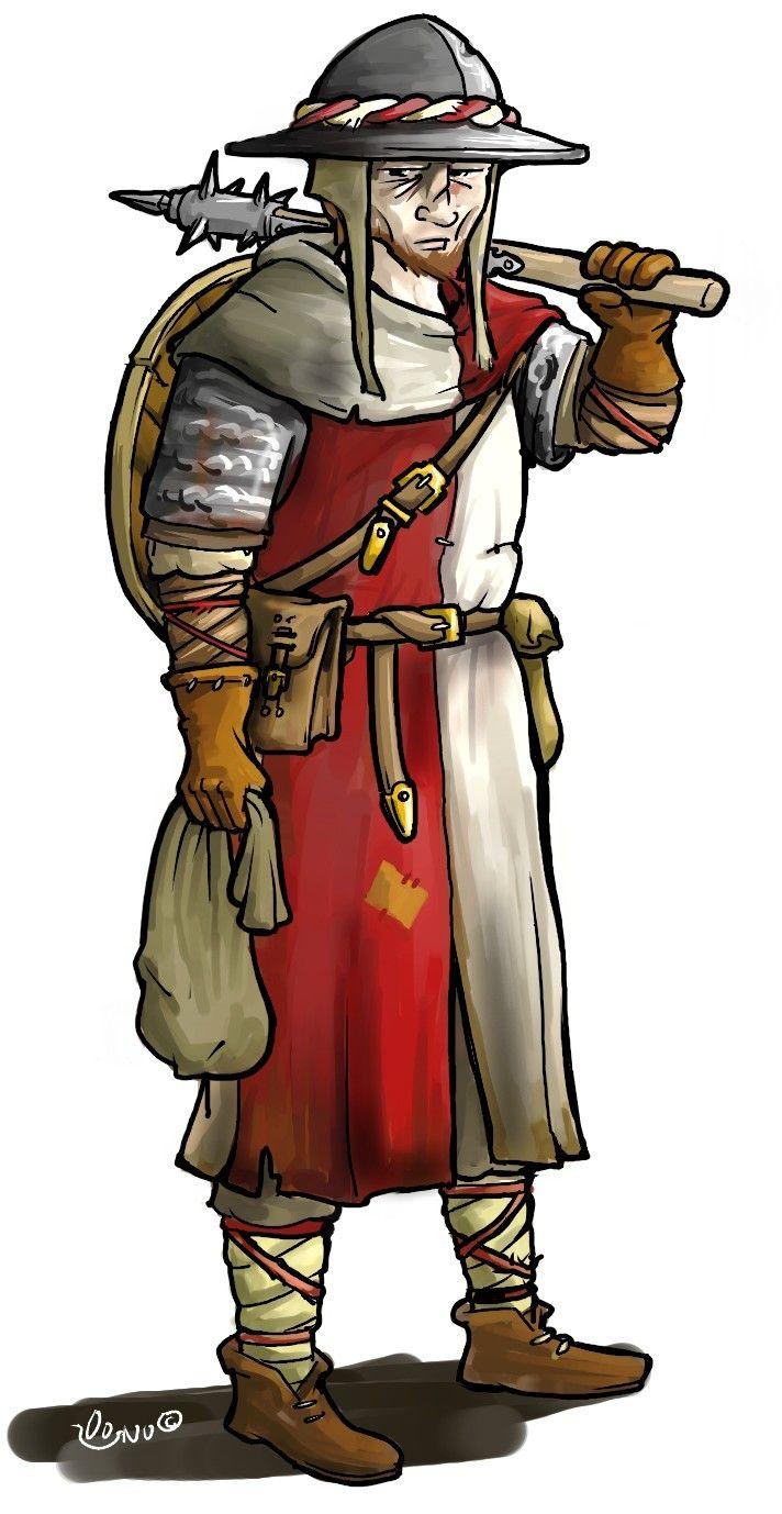 Larp group consept, Enfants Lumière soldier. chainmail, surcoat, kettle hat, morningstar. Couldbeworse-comic.com