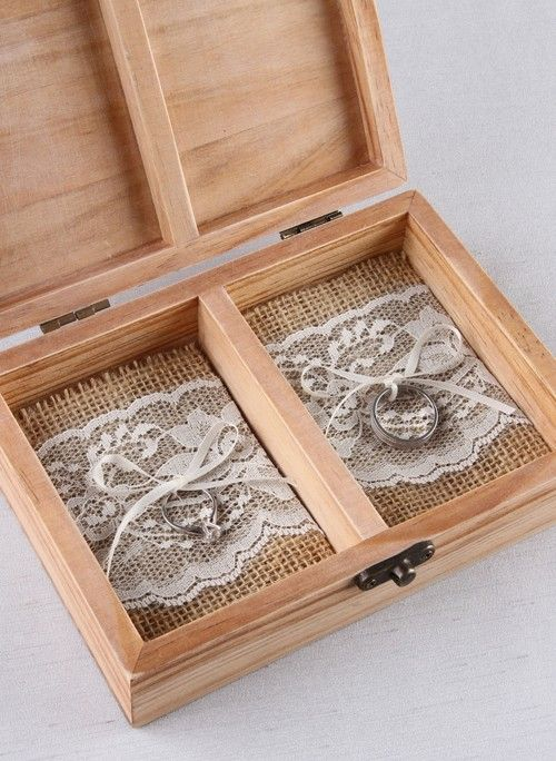 Burlap and Lace Ring Bearer Box Inserts great addition to a wood ring bearer box