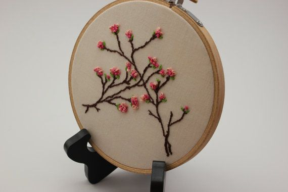 Japanese Sakura Cherry Blossoms Embroidery Hoop by ThisTookSewLong