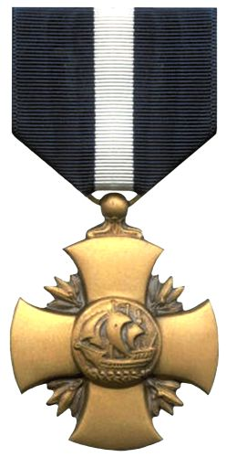 The Navy Cross. The second-highest award for valor in combat;it was created it in 1919 and can be (regularly) awarded to members of the U.S. Navy, the Marine Corps and the Coast Guard. Until 1942 it was also authorized for distinguished non-combat acts. Multiple awards are denoted with golden stars on the ribbon. It has been awarded over 6900 times.