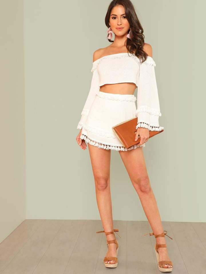 94a4a7126 Suit Type: Skirt Color: White Composition: 30% Cotton, 20% Polyester, 25%  Viscose, 25% Linen Pattern Type: Plain Neckline: Off the Shoulder Sleeve  Length: ...