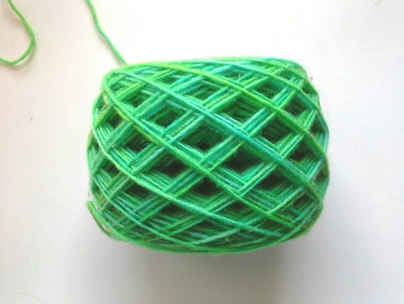 hand dyed yarn green fingering yarn wool yarn 100g by KoloroStudio