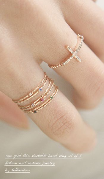 Color Stone Textured Tin Rings Rose Gold Set of 6