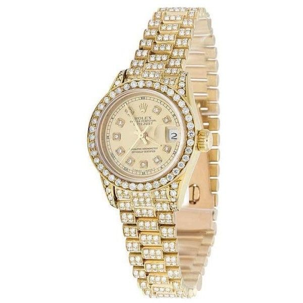 Pre-owned Rolex Presidential Datejust 69178 18K Yellow Gold Vintage... ($12,599) ❤ liked on Polyvore featuring jewelry, watches, rolex watches, preowned watches, dial watches, vintage watches and vintage gold jewelry