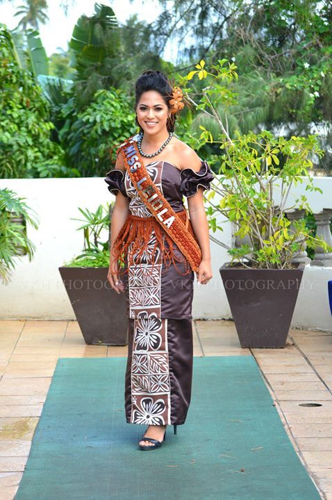 Miss Leiola Tonga 2015 In Her Beautiful Puletaha With Unique Ruffled Shoulder Photo Credit