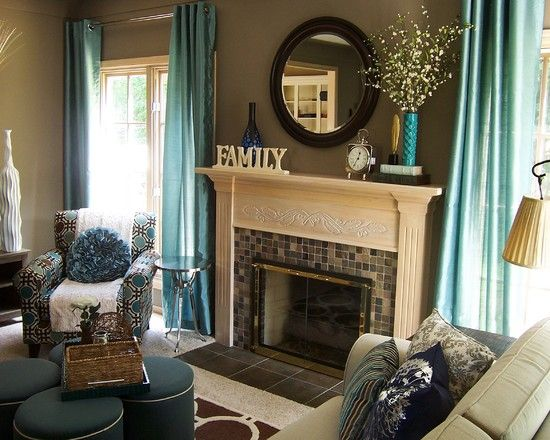 , Contemporary Teal Living Room Accessories Like Curtains Also Classic Fireplace Design With Mosaic Tiling Fire Surround Also Beige Elegant Mantelpiece And Dark Brown Wall Paint Color Also Teal Elegant Armchair: Unique and Different Teal Living Room Ideas