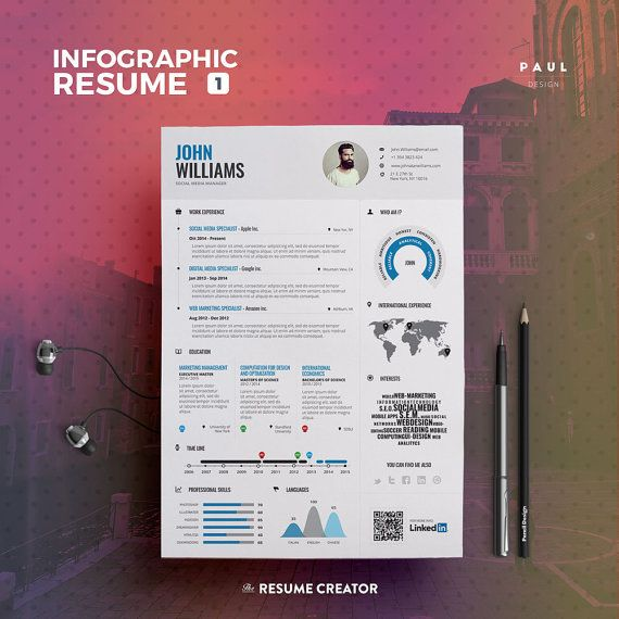 Infographic Resume Vol.1  Word Indesign and by TheResumeCreator