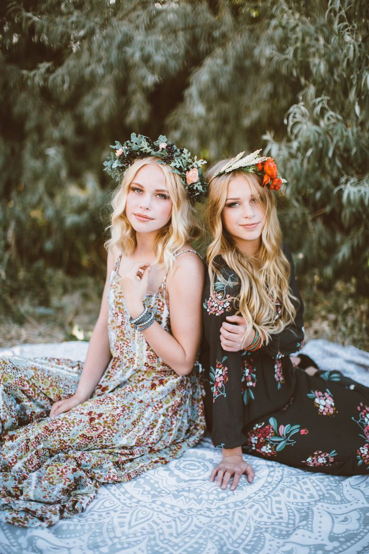 ✩ Flower Child Always ☽  ✩ Save 25% off all orders with code PINTERESTXO at checkout with Lady Scorpio | Blonde Sisters Wearing Free People | Mandala Tapestries + Crystal Bracelets Shop LadyScorpio101.com @LadyScorpio101 | Photography by Ashley Swenson | Flower Crown: @BrushFireFloral | Hair Makeup: @Rach.KissNMakeup