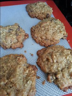 Whole Grain steel-Cut Oatmeal Cookies Recipe - Food.com - subbed out butter for 1/4c coconut oil and 1/2c pumpkin puree. subbed part of flour for sorghum flour. added coconut and cocoa powder, and raisins