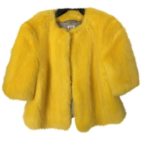 Faux fur short vest SHRIMPS ($355) ❤ liked on Polyvore featuring outerwear, vests, yellow vest, faux fur waistcoat, fake fur vests, short faux fur vest and vest waistcoat