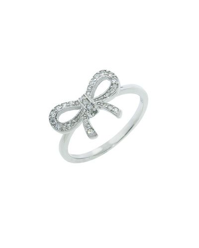 Sterling Silver Pave Bow Ring
