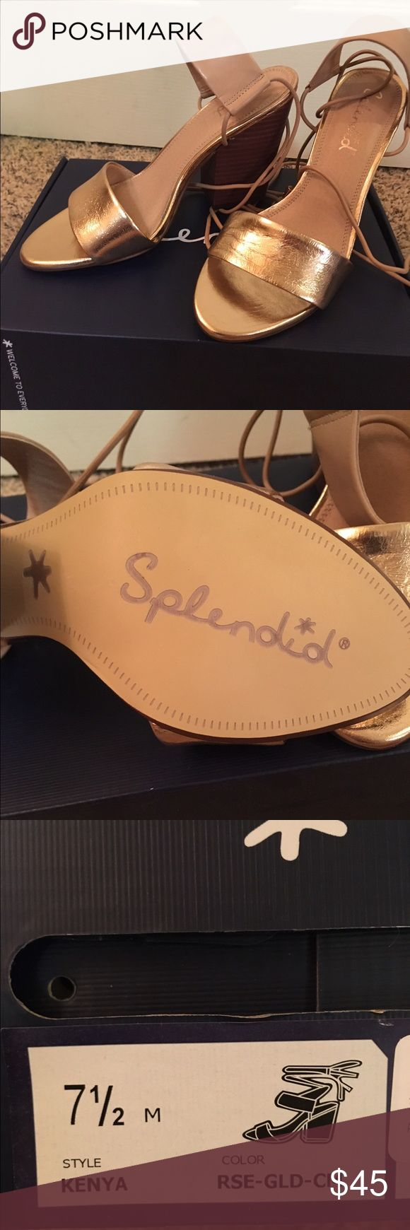 Splendid Rose Gold Dress Sandal with Heel Size 7.5 Splendid Rose Gold Dress Sandal with Heel, never worn (ordered online and color didn't quite match the dress). Splendid Shoes Heels