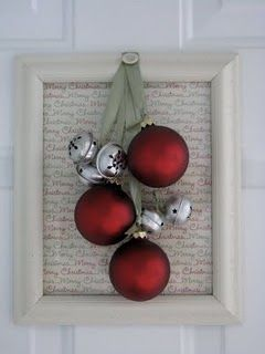 attached a few bells and some ornaments to pieces of ribbon cut at varying lengths; sew a button at the top to hold all the ribbon together; hot glue it to a picture frame.  Inside the picture frame inserted some pretty Christmas scrapbook paper.