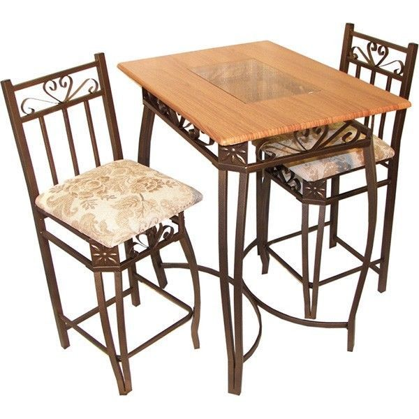 Cocktail Table 3Pc Bistro Set Dining High Top Table Wood Glass Chairs