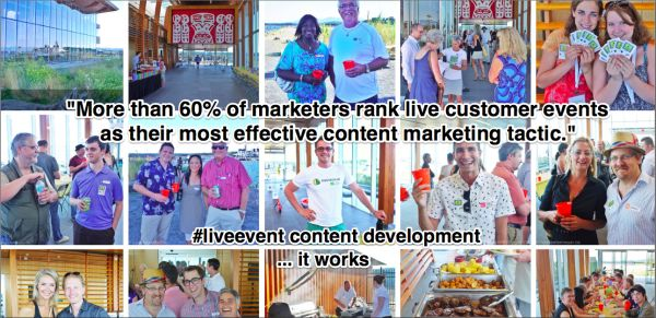 """Live event content development. It works. Are you working it? """"""""More than 60% of marketers rank live customer events as their most effective content marketing tactic. But sadly many events still stand alone and are only """"loosely"""" tied to an overall strategy...  Don't be that marketer! Build a content strategy to include your event and turn your event into content,""""  Kelly Hungerford at Paper.li"""