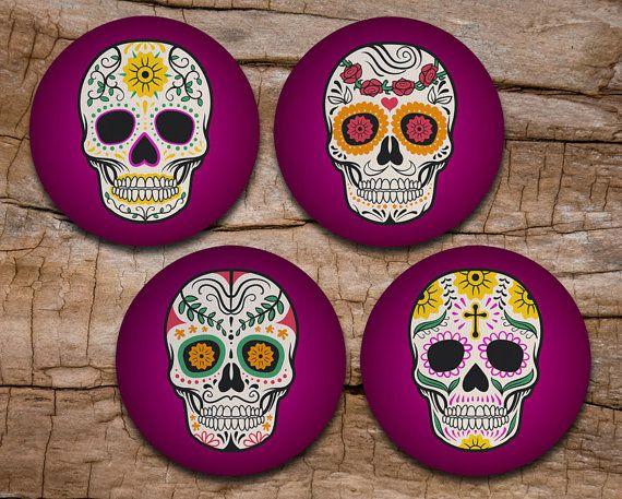 Sugar Skull Coaster Set of 4 - Day of the Dead Art - Dia de los Muertos - Drink coasters
