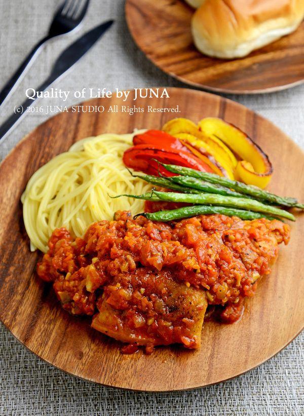 チキンのトマト煮☆パスタ&焼き野菜添え by JUNA(神田智美)   レシピサイト「Nadia   ナディア」プロの料理を無料で検索