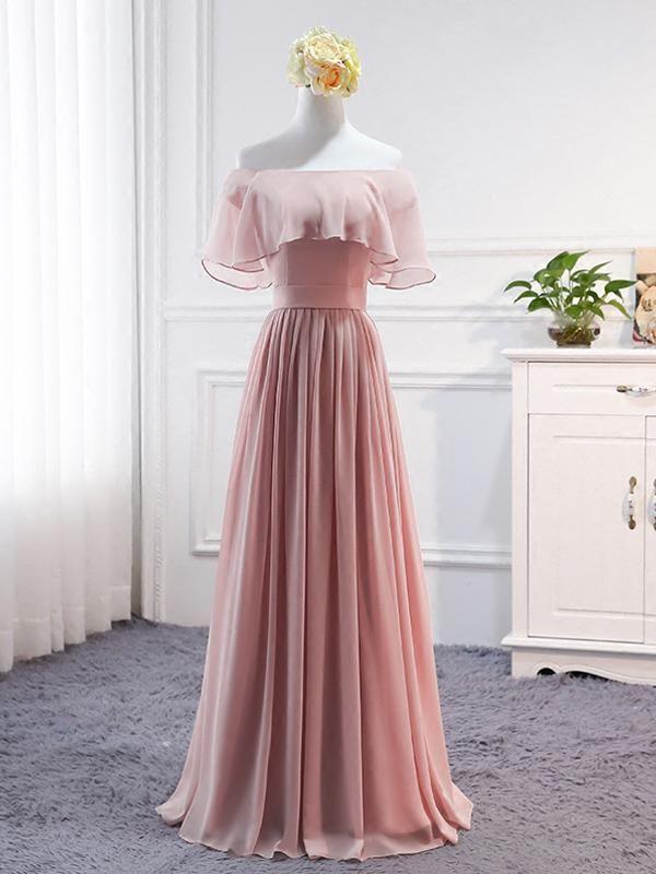 A Line Pink Four Styles Empire Waist Chiffon Bridesmaid Dresses Long Prom Dresses