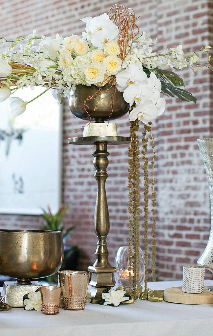 "25"" Gold Metal Pedestal Table"