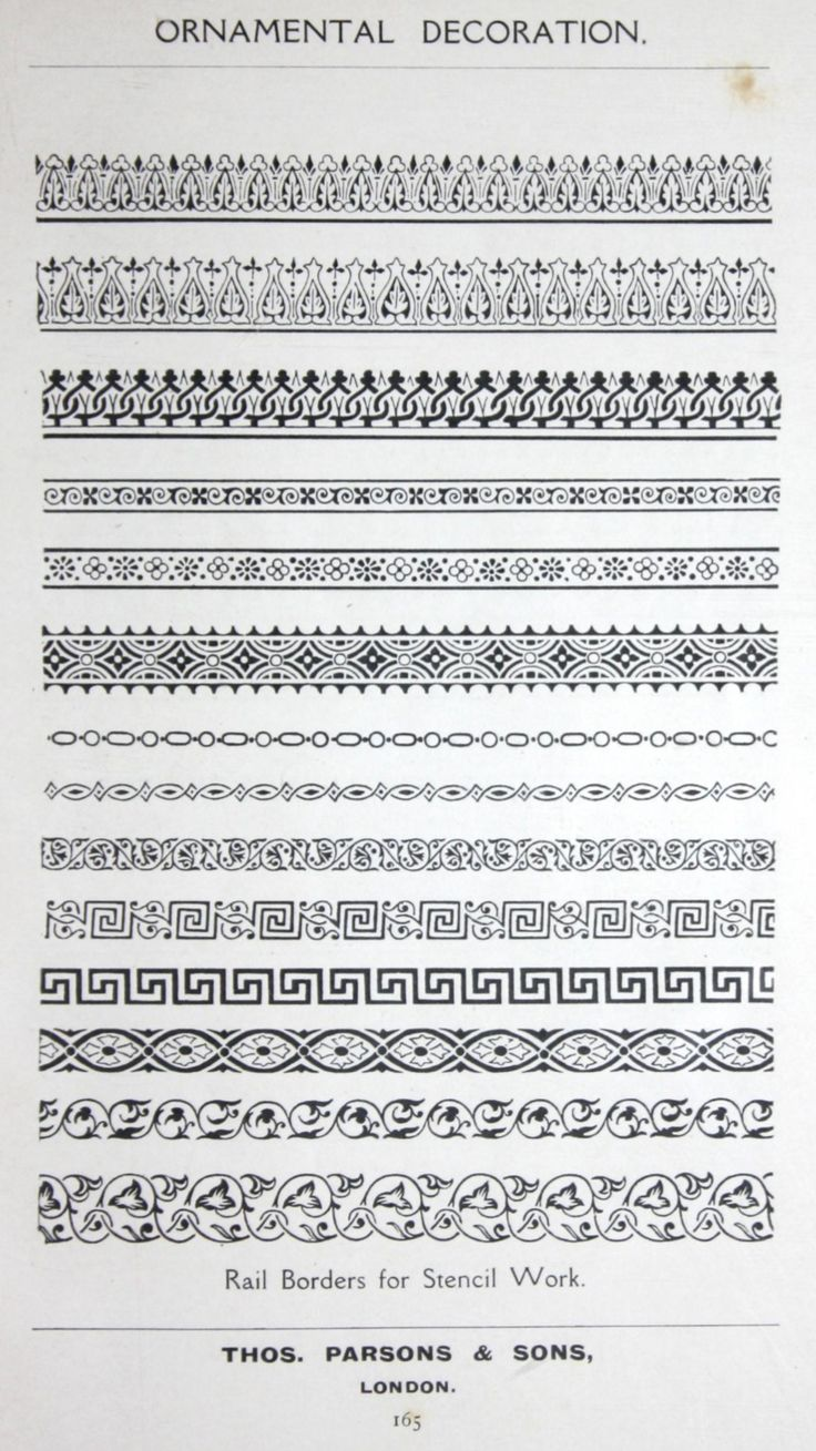 "Rail Stencil designs from the 1909 book, ""Ornamental Decoration"" by F. Scott…"