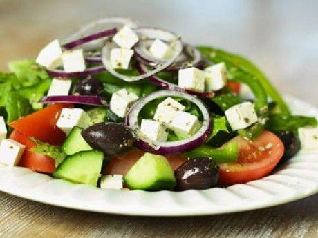 Greek salad with fetacheese and kalamataolives