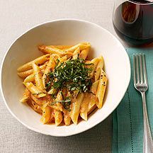 Weight Watcher's Penne with Vodka Sauce is delicious.