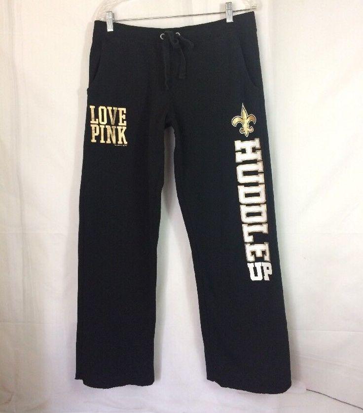 LOVE PINK Huddle Up Pants M NFL New Orleans Saints Victoria's Secret Boyfriend  | eBay