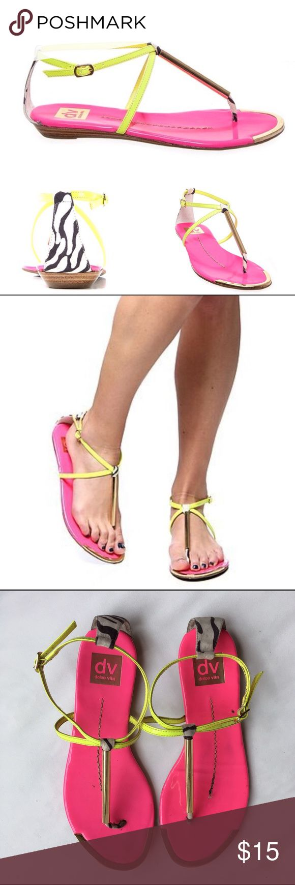 "DV by Dolce Vita Neon Sandals Electric neon yellow straps with neon pink insoles.  Zebra print on back and thong with gold tone detail. Very tiny .5"" wedge. Adjustable straps.  Worn several times.  The bottoms are backs are a little dirty.  Please refer to pictures. DV by Dolce Vita Shoes Sandals"
