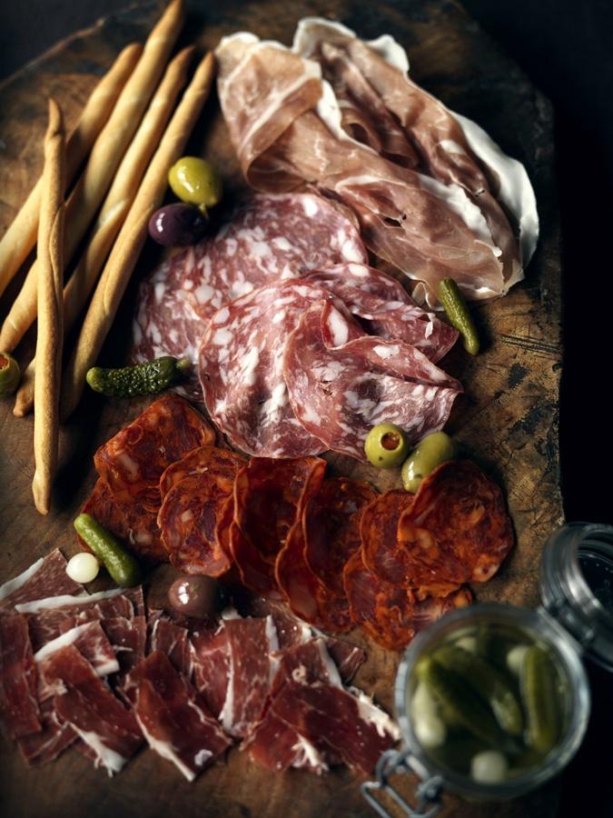 Affettati Misti; Diverse Italiaanse vleeswaren en worst-soorten.