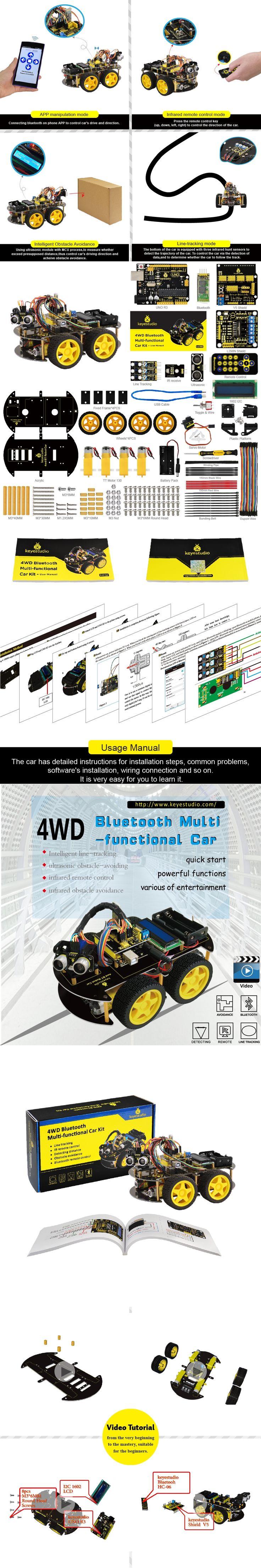 2017 New Year present!Keyestudio 4WD Bluetooth Multi-functional DIY Car +User Manual/with screwdriver For Arduino Robot starter