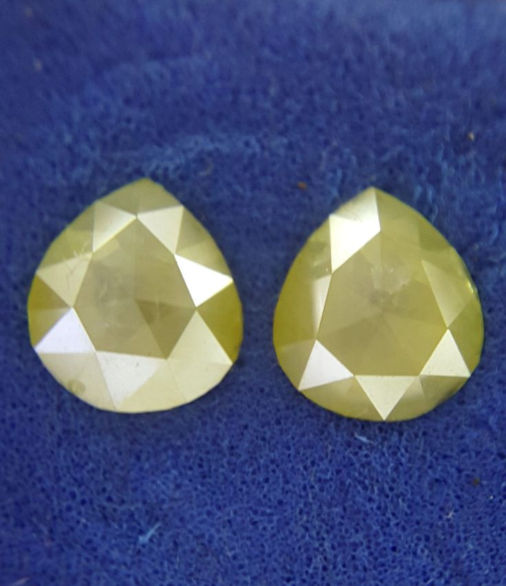 Fancy Natural diamond 1.29 TCW Yellow Color Pear shape Rose cut 6.5 x 5.9 x 2.2 MM Antique African Loose Natural Diamond Pair, 2 Piece by Fancycolorsdiamond on Etsy
