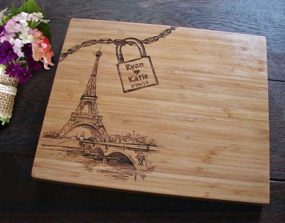 Love Lock Bridge Paris Cutting Board for by TheCuttingBoardShop