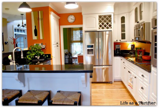 Orange accent wall in the kitchen maria pinterest - Kitchen with orange accents ...