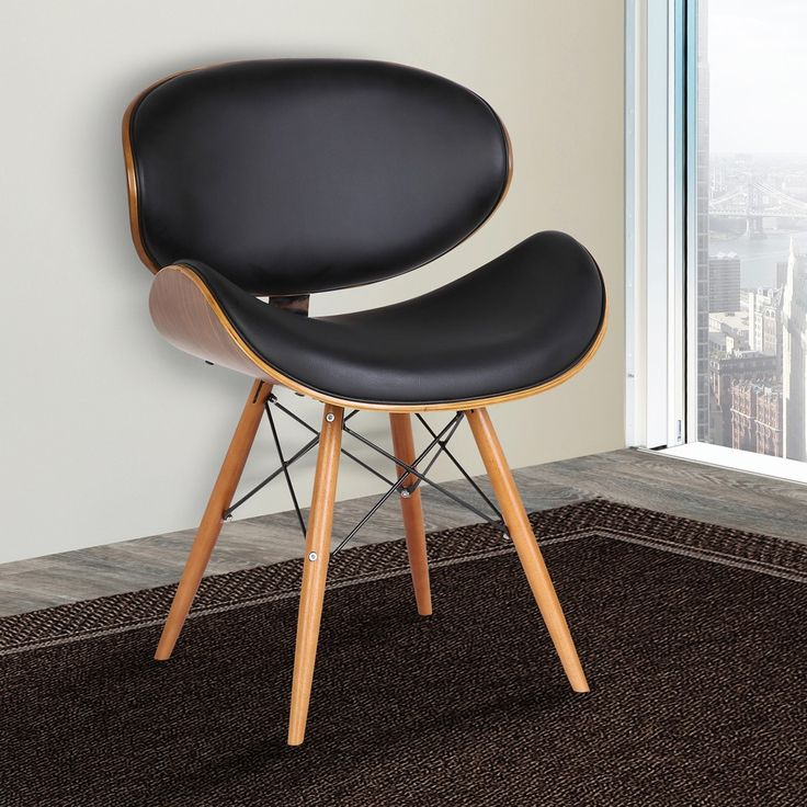Cassie Mid-Century Dining Chair in Walnut Wood & Black ...