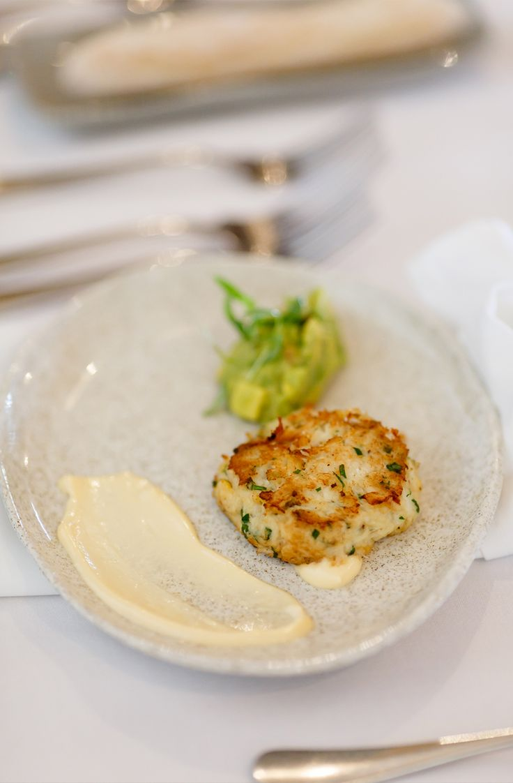 Waikanae Crab Cake with avocado salsa & lime mayo. Photo credit - Paul Howell Photography, Wellington NZ.
