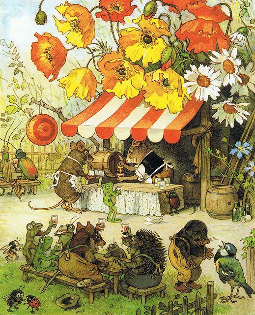 """Gartenfest in Blumenhausen Bild von Fritz Baumgarten aus einem meiner Lieblingskinderbücher """"MAIKÄFERS HOCHZEIT und andere Wichtelgeschichten"""".  WUNDERSCHÖN - bis heute"""
