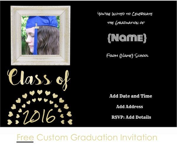 9 best invitations images on pinterest graduation invitations free graduation invitation template in black and gold edit online then print at home filmwisefo