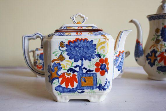 Mason's Jardiniere large tea pot Art Deco design