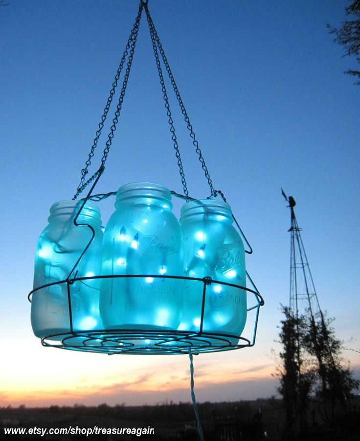 mason jar weddings | wedding mason jar chandelier hanging blue lighting home decor weddings ...